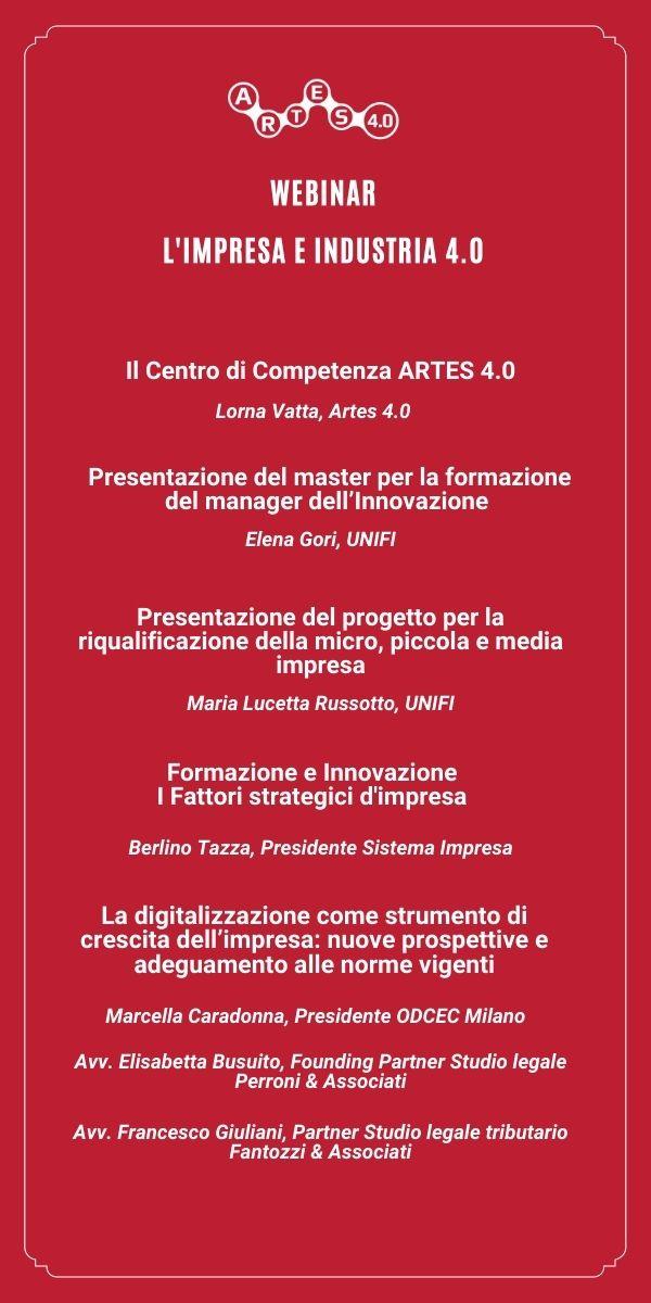 Agenda webinar 25 marzo - ARTES 4.0 e UNIFI